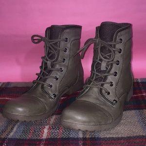 EUC Taupe G Guess Rhinestone Zipper Combat Boots